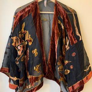 Anthropologie Velvet Fleur Kimono Poncho